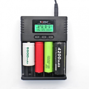 Soshine H4 Digicharger LCD Display Battery Charger+Car Cable For LI-ion 18650 14500 16340 26650