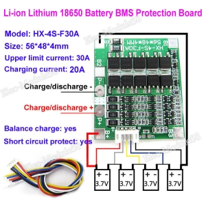 14.8V 16.8V 30A 4S Lithium Li-ion LiPo Polymer Battery BMS PCB System Balance