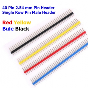 (4pcs) 40 Pin 2.54 mm Pin Header Single Row Pin Male Header 4 color