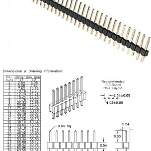 40 Pin 2.54 mm Pin Header Single Row Pin Male Header