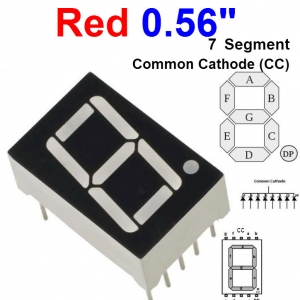"Red 0.56"" 7 Segment Common Cathode (CC) 5611AH"