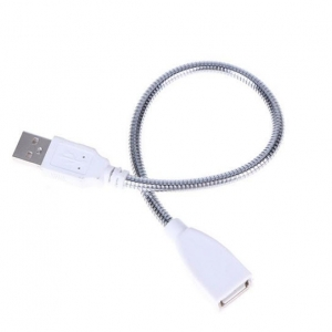 Flexible Metal Hose USB Male to Female Extension Cable LED Light Adapter Cable Power Supply Cord