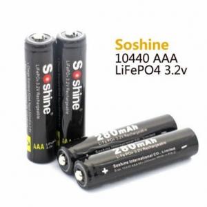 4 pieces/lot Soshine 10440 battery 3.2V 280mAh LiFePO4