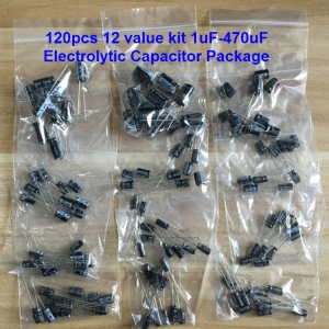 120pcs 12 value kit 1uF-470uF Electrolytic Capacitor Package