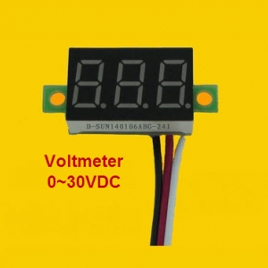 -RED- 3 line DC Voltage meter 0.36 inch DC 0V-30V