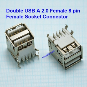 Double USB A 2.0 Female 8 pin Welding Solder Plug Jack Female Socket Connector For mobile power supply