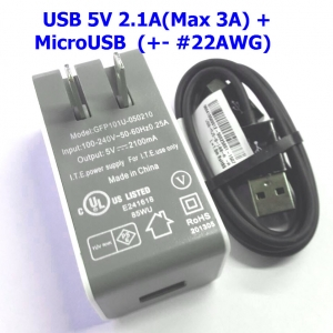 5V 2.1A (peak 3A) Power Adapter + MircoUSB for Raspberry Pi