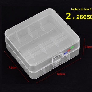 2 x 26650 Portable Transparent battery Holder for Batteries 26650 Storage Box Battery Cover
