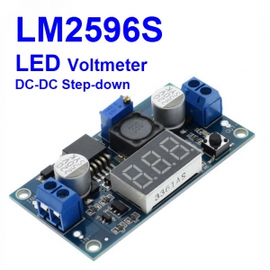 LM2596 LM2596S Power Module + LED Voltmeter DC-DC Adjustable Step Down Power Supply Module with Digital Display