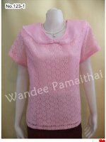 เสื้อลูกไม้ปกแก้ว ปักด้วยมุขรอบปก สีชมพู เบอร์ XXL