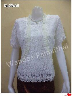 เสื้อลูกไม้ระบายผ้าแก้ว สีขาวออฟไวท์ เบอร์L