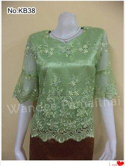 เสื้อลูกไม้แก้ว คอหัวใจ ซับด้วยผ้าต่วนอย่างดี ซิปหลัง สีเขียว เบอร์ L