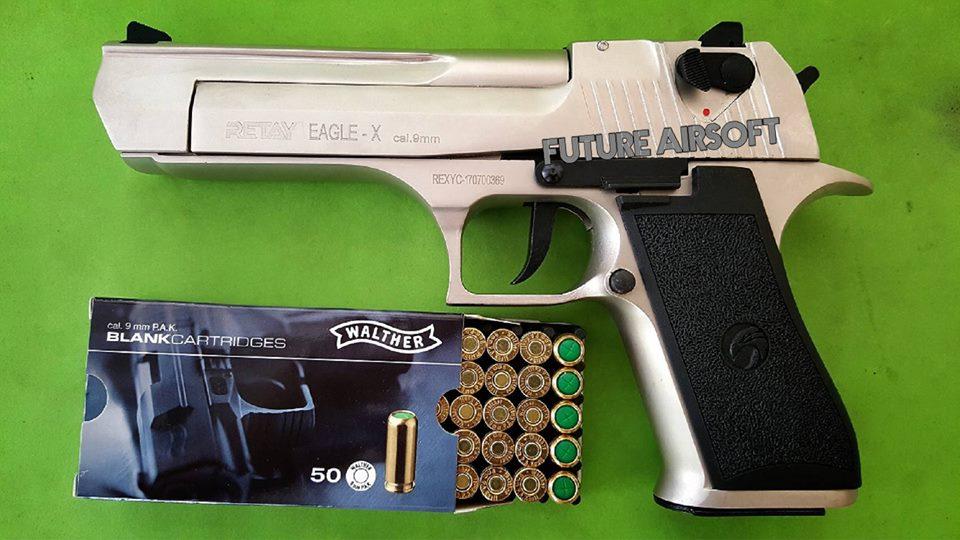 Retay Desert Eagle De 50 Satin 9mm P A K  Blank Gun Gen 2 เงิน